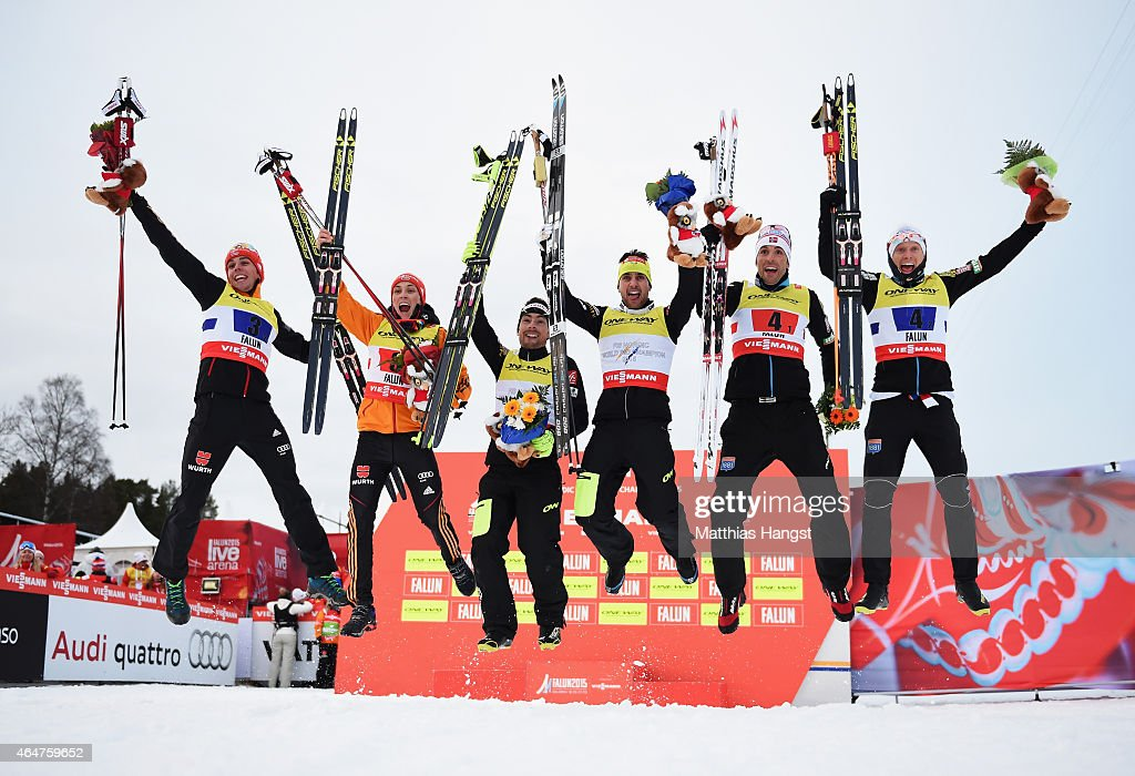 Gold medallists Francois Braud and Jason Lamy Chappuis of France, silver medallists Eric Frenzel and Johannes Rydzek of Germany and bronze medallists Magnus H. Moan and Haavard Klemetsen of Norway celebrate after the Men's Team Nordic Combined Cross-Country during the FIS Nordic World Ski Championships at the Lugnet venue on February 28, 2015 in Falun, Sweden.