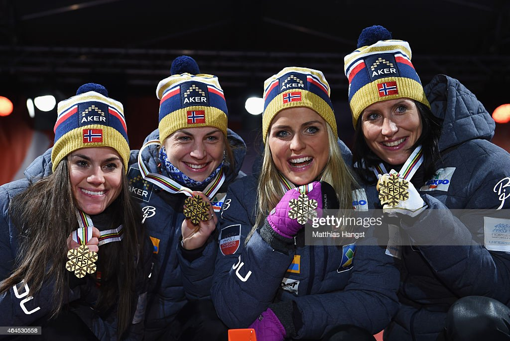 Gold medallists <a gi-track='captionPersonalityLinkClicked' href=/galleries/search?phrase=Heidi+Weng&family=editorial&specificpeople=8660218 ng-click='$event.stopPropagation()'>Heidi Weng</a>, Astrid Uhrenholdt Jacobsen, <a gi-track='captionPersonalityLinkClicked' href=/galleries/search?phrase=Therese+Johaug&family=editorial&specificpeople=4176080 ng-click='$event.stopPropagation()'>Therese Johaug</a> and <a gi-track='captionPersonalityLinkClicked' href=/galleries/search?phrase=Marit+Bjoergen&family=editorial&specificpeople=216406 ng-click='$event.stopPropagation()'>Marit Bjoergen</a> of Norway pose during the medal ceremony for the Women's 4 x 5km Cross-Country Relay during the FIS Nordic World Ski Championships at the Lugnet venue on February 26, 2015 in Falun, Sweden.