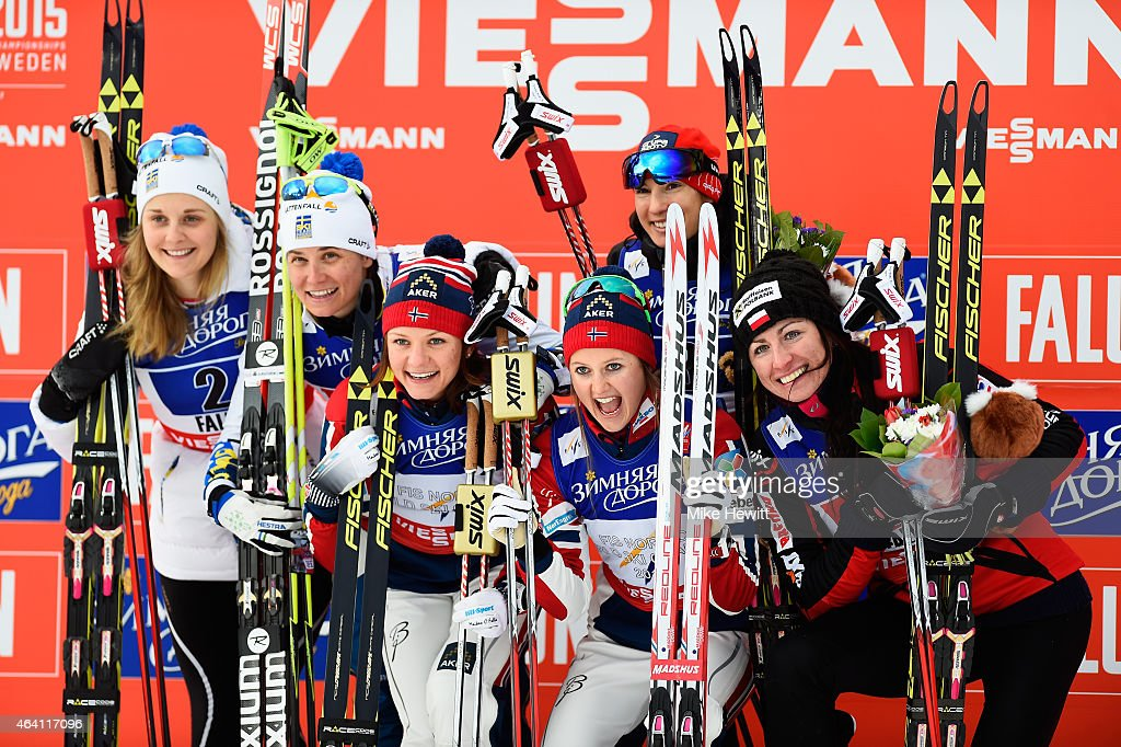 Gold medallists <a gi-track='captionPersonalityLinkClicked' href=/galleries/search?phrase=Ingvild+Flugstad+Oestberg&family=editorial&specificpeople=7427144 ng-click='$event.stopPropagation()'>Ingvild Flugstad Oestberg</a> and <a gi-track='captionPersonalityLinkClicked' href=/galleries/search?phrase=Maiken+Caspersen+Falla&family=editorial&specificpeople=5646017 ng-click='$event.stopPropagation()'>Maiken Caspersen Falla</a> of Norway pose with silver medallists <a gi-track='captionPersonalityLinkClicked' href=/galleries/search?phrase=Ida+Ingemarsdotter&family=editorial&specificpeople=5640296 ng-click='$event.stopPropagation()'>Ida Ingemarsdotter</a> and <a gi-track='captionPersonalityLinkClicked' href=/galleries/search?phrase=Stina+Nilsson&family=editorial&specificpeople=10116472 ng-click='$event.stopPropagation()'>Stina Nilsson</a> of Sweden and bronze medallists Justyna Kowalczyk and Sylwia Jaskowiec of Poland after the Women's Cross-Country Team Sprint Final during the FIS Nordic World Ski Championships at the Lugnet venue on February 22, 2015 in Falun, Sweden.