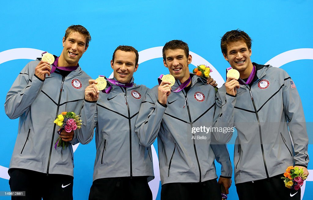 Gold medallists Matthew Grevers, <a gi-track='captionPersonalityLinkClicked' href=/galleries/search?phrase=Brendan+Hansen&family=editorial&specificpeople=162703 ng-click='$event.stopPropagation()'>Brendan Hansen</a>, <a gi-track='captionPersonalityLinkClicked' href=/galleries/search?phrase=Michael+Phelps&family=editorial&specificpeople=162698 ng-click='$event.stopPropagation()'>Michael Phelps</a> and <a gi-track='captionPersonalityLinkClicked' href=/galleries/search?phrase=Nathan+Adrian+-+Nadador&family=editorial&specificpeople=712694 ng-click='$event.stopPropagation()'>Nathan Adrian</a> of the United States pose on the podium in the medal ceremony for the Men's 4x100m medley Relay Final on Day 8 of the London 2012 Olympic Games at the Aquatics Centre on August 4, 2012 in London, England.