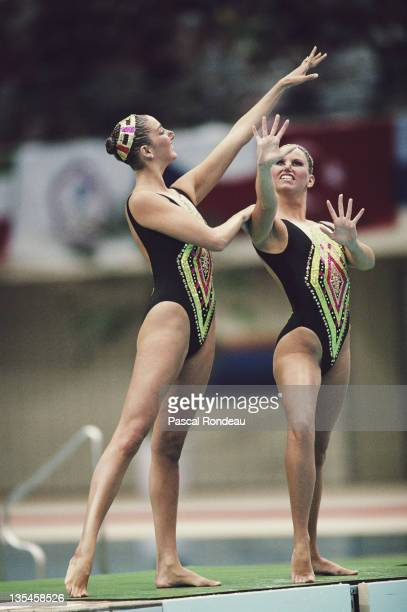 Gold medallists Michelle Cameron and Carolyn Waldo of Canada during the Women's Duet Synchronised swimming event on 1st October 1988 during the XXIV...