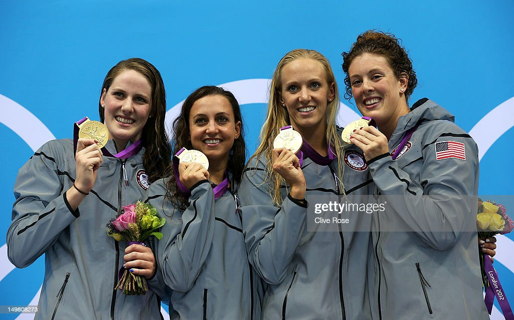 Gold medallists (L-R) <a gi-track='captionPersonalityLinkClicked' href=/galleries/search?phrase=Missy+Franklin&family=editorial&specificpeople=6623958 ng-click='$event.stopPropagation()'>Missy Franklin</a>, <a gi-track='captionPersonalityLinkClicked' href=/galleries/search?phrase=Rebecca+Soni&family=editorial&specificpeople=695876 ng-click='$event.stopPropagation()'>Rebecca Soni</a>, Dana Volmer, and <a gi-track='captionPersonalityLinkClicked' href=/galleries/search?phrase=Allison+Schmitt&family=editorial&specificpeople=4443033 ng-click='$event.stopPropagation()'>Allison Schmitt</a> of the United States pose on the podium during the medal ceremony for the Women's 4x100m medley Relay Final on Day 8 of the London 2012 Olympic Games at the Aquatics Centre on August 4, 2012 in London, England.