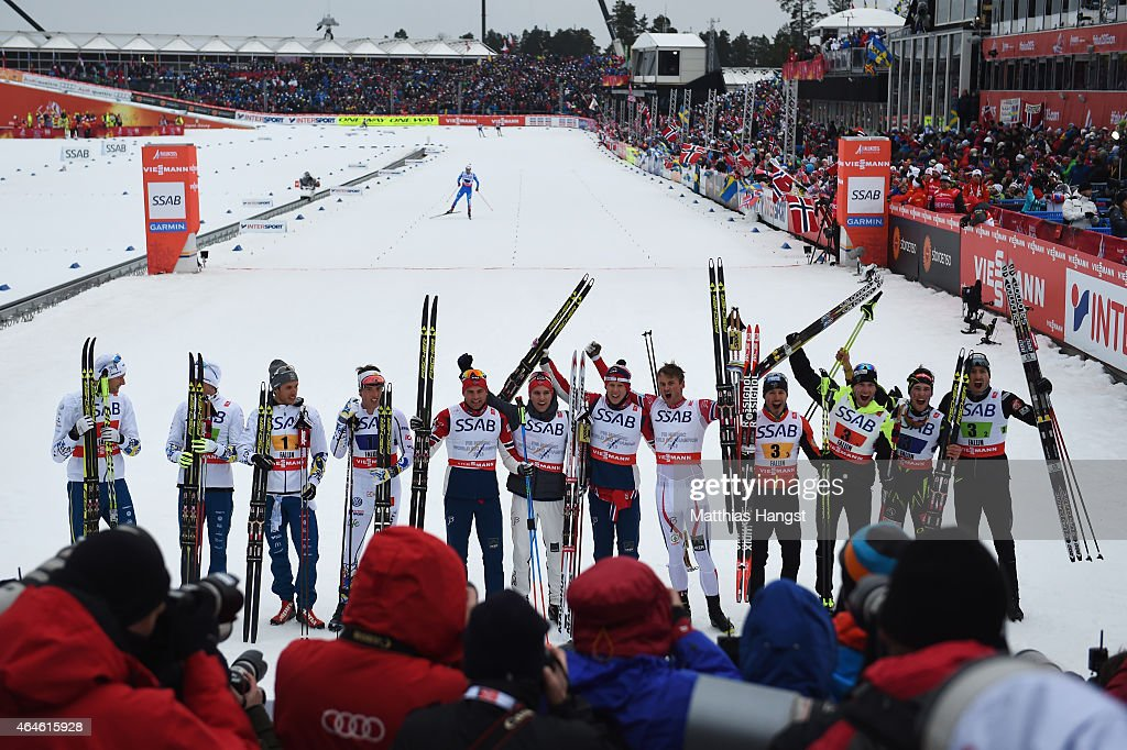 Gold medallists Niklas Dyrhaug, Didrik Toenseth, Anders Gloeersen and Petter Jr. Northug of Norway celebrate with silver medallists Daniel Richardsson, <a gi-track='captionPersonalityLinkClicked' href=/galleries/search?phrase=Johan+Olsson&family=editorial&specificpeople=724246 ng-click='$event.stopPropagation()'>Johan Olsson</a>, <a gi-track='captionPersonalityLinkClicked' href=/galleries/search?phrase=Marcus+Hellner&family=editorial&specificpeople=4046940 ng-click='$event.stopPropagation()'>Marcus Hellner</a> and Calle Halfvarsson of Sweden and bronze medallists Jean Marc Gaillard, <a gi-track='captionPersonalityLinkClicked' href=/galleries/search?phrase=Maurice+Manificat&family=editorial&specificpeople=5632025 ng-click='$event.stopPropagation()'>Maurice Manificat</a>, <a gi-track='captionPersonalityLinkClicked' href=/galleries/search?phrase=Robin+Duvillard&family=editorial&specificpeople=6680782 ng-click='$event.stopPropagation()'>Robin Duvillard</a> and Adrien Backscheider of France after the Men's 4 x 10km Cross-Country Relay during the FIS Nordic World Ski Championships at the Lugnet venue on February 27, 2015 in Falun, Sweden.