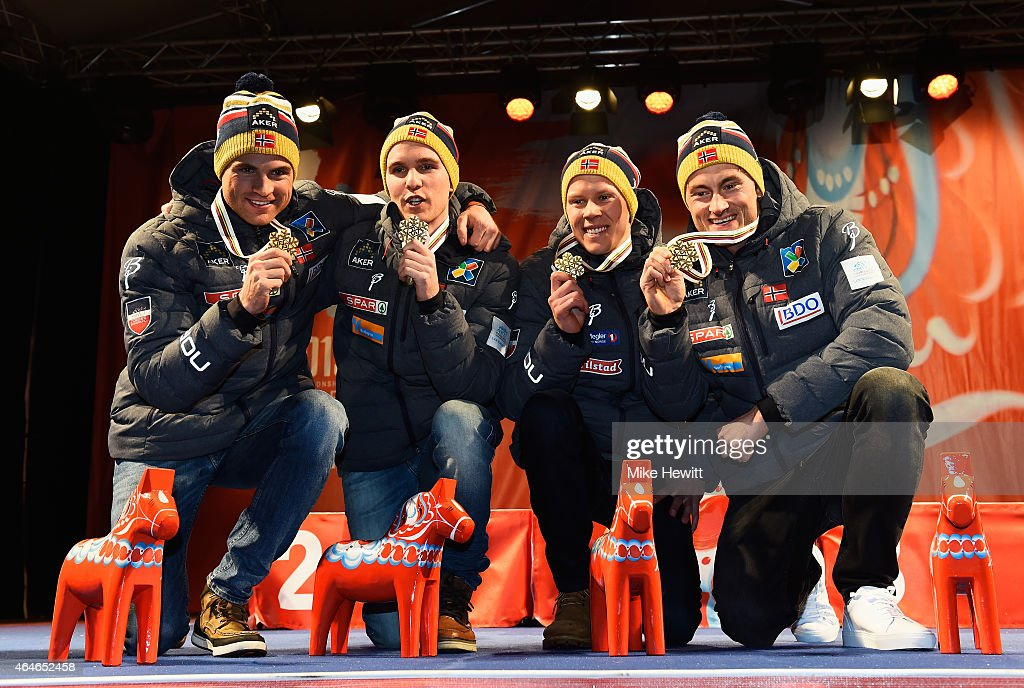 Gold medallists (L-R) Niklas Dyrhaug, Didrik Toenseth, Anders Gloeersen and Petter Jr. Northug of Norway pose during the medal ceremony for the Men's 4 x 10km Cross-Country Relay during the FIS Nordic World Ski Championships at the Lugnet venue on February 27, 2015 in Falun, Sweden.