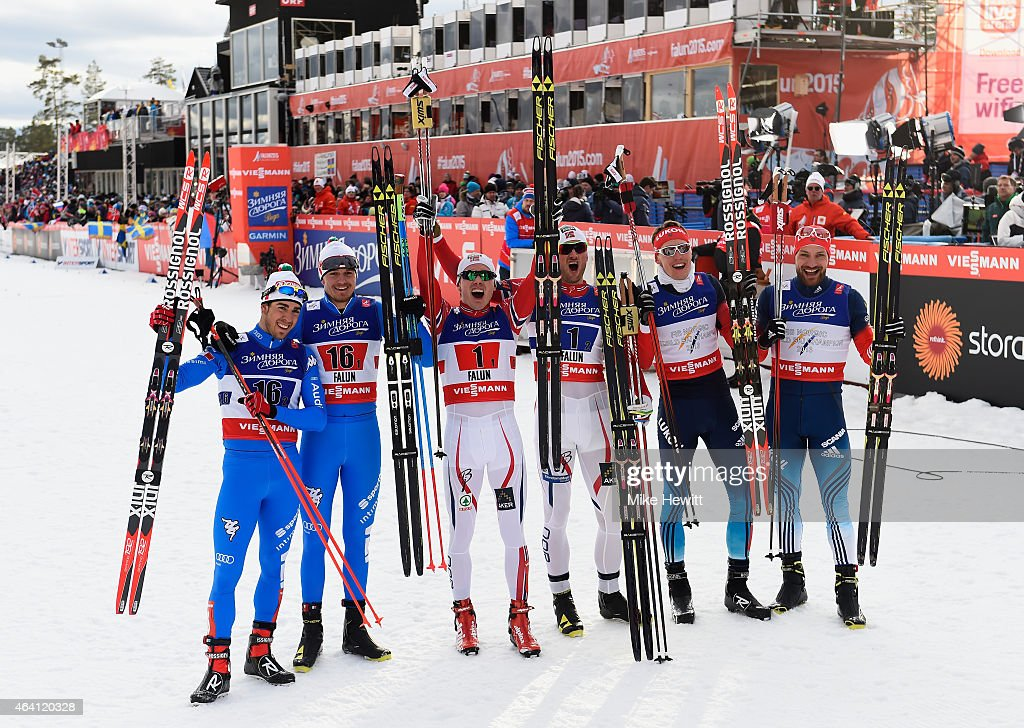 Gold medallists Petter Jr. Northug and Finn Haagen Krogh of Norway pose with silver medallists <a gi-track='captionPersonalityLinkClicked' href=/galleries/search?phrase=Alexey+Petukhov&family=editorial&specificpeople=6753232 ng-click='$event.stopPropagation()'>Alexey Petukhov</a> and <a gi-track='captionPersonalityLinkClicked' href=/galleries/search?phrase=Nikita+Kriukov&family=editorial&specificpeople=4907513 ng-click='$event.stopPropagation()'>Nikita Kriukov</a> of Russia and bronze medallists Dietmar Noeckler and <a gi-track='captionPersonalityLinkClicked' href=/galleries/search?phrase=Federico+Pellegrino&family=editorial&specificpeople=7398392 ng-click='$event.stopPropagation()'>Federico Pellegrino</a> of Italy after the Men's Cross-Country Team Sprint Final during the FIS Nordic World Ski Championships at the Lugnet venue on February 22, 2015 in Falun, Sweden.