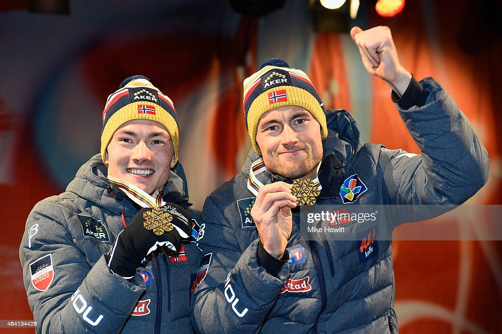 Gold medallists Petter Jr. Northug (R) of Norway and Finn Haagen Krogh pose during the medal ceremony for the Men's Cross-Country Team Sprint Final during the FIS Nordic World Ski Championships at the Lugnet venue on February 22, 2015 in Falun, Sweden.
