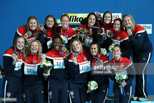 Gold medallists Team United States pose during the medal ceremony for the Women's Water Polo on day fourteen of the 16th FINA World Championships at...