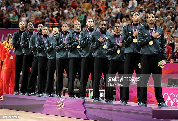Gold medallists the United States pose on the podium during the medal ceremony for the Men's Basketball on Day 16 of the London 2012 Olympics Games...