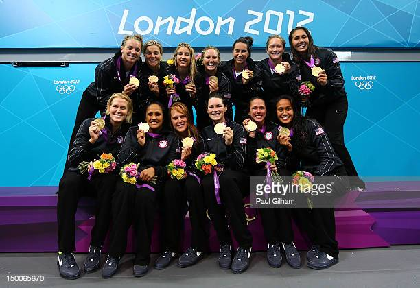 Gold medallists the United States pose on the podium following the medal ceremony for the Women's Water Polo on Day 13 of the London 2012 Olympic...