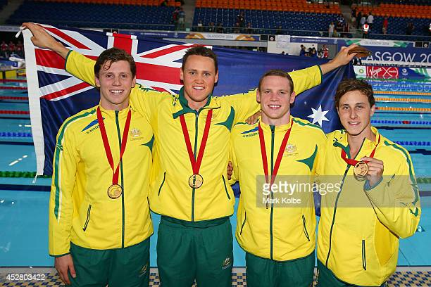 Gold medallists Thomas FraserHolmes David McKeon Ned McKendry and Cameron McEvoy of Australia pose after the medal ceremony for the Men's 4 x 200m...