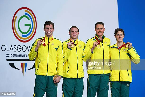 Gold medallists Thomas FraserHolmes Ned McKendry David McKeon and Cameron McEvoy of Australia pose during the medal ceremony for the Men's 4 x 200m...