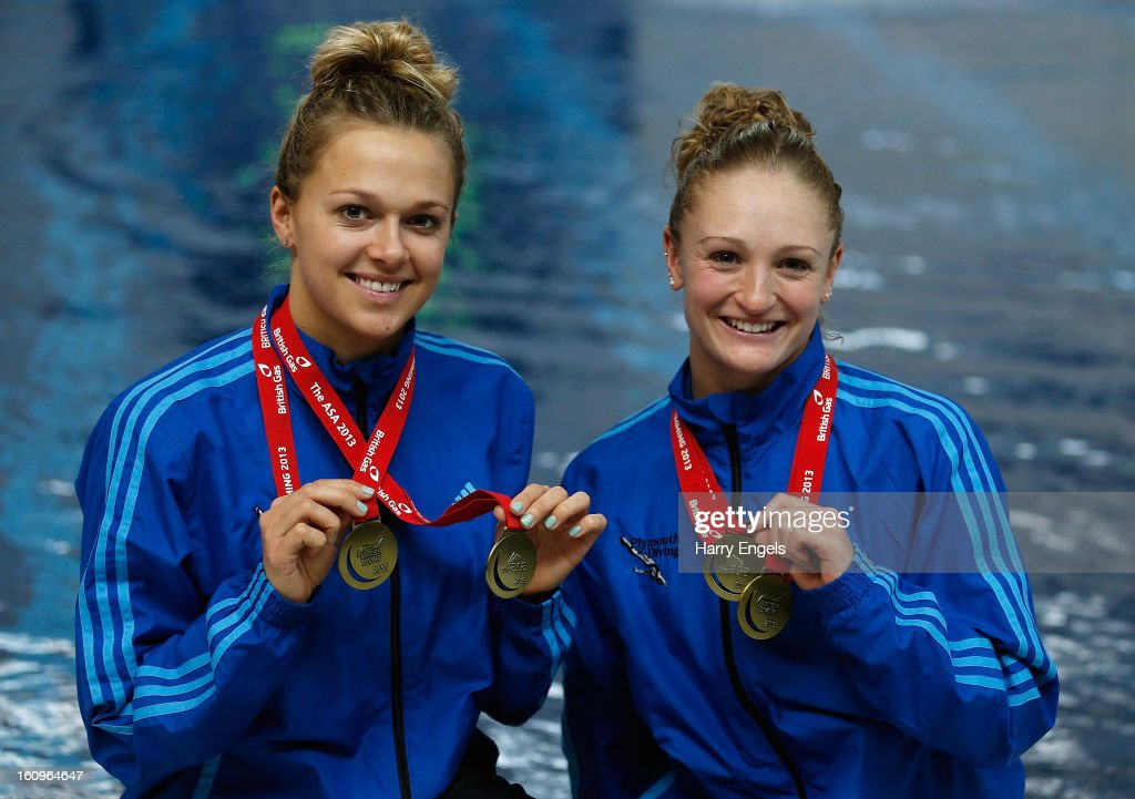 Gold medallists Tonia Couch (L) and Sarah Barrow pose with their medals after winning the Women's 10m Synchro competition on day 1 of the British Gas Diving Championships on February 8, 2013 in Plymouth, England.