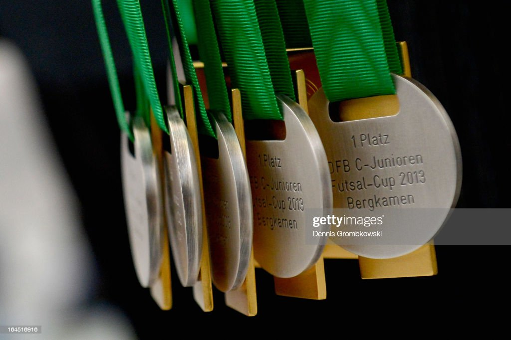 Gold medals are seen during the DFB C Juniors Futsal Cup on March 24 2013 in Bergkamen Germany
