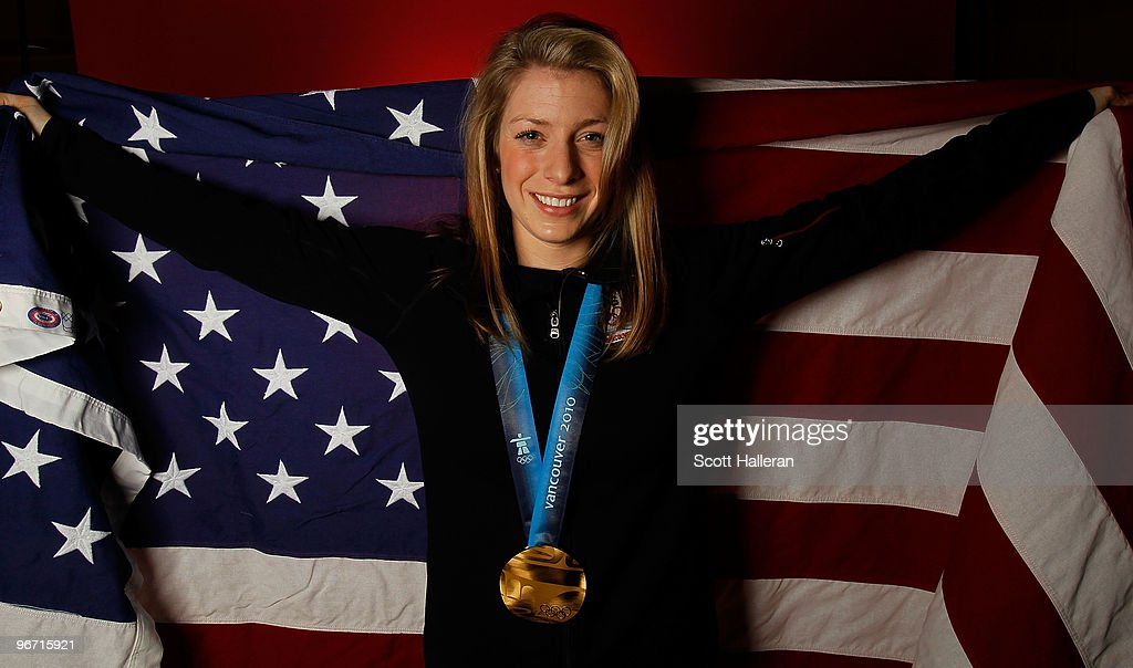 Gold medal-winning moguls skier <a gi-track='captionPersonalityLinkClicked' href=/galleries/search?phrase=Hannah+Kearney&family=editorial&specificpeople=228988 ng-click='$event.stopPropagation()'>Hannah Kearney</a> of the United States poses in the NBC Today Show Studio at Grouse Mountain on February 15, 2010 in North Vancouver, Canada.