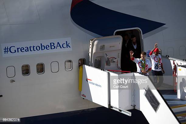 Gold medalwinning Olympians Max Whitlock and Nicola Adams pose for a photograph as they arrive with other members of Team GB from Rio de Janeiro on a...