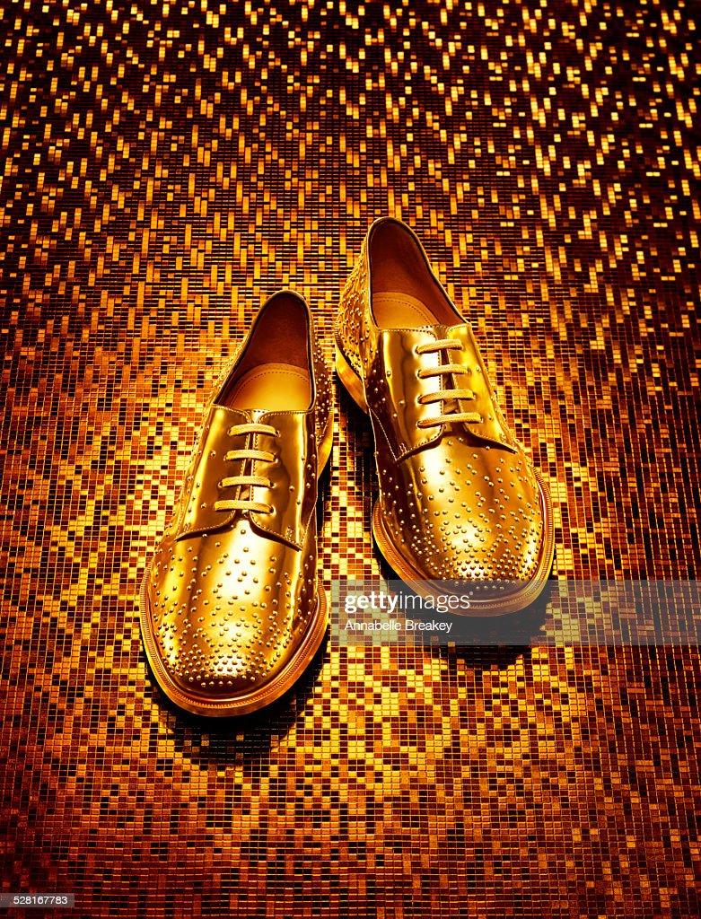 Gold Men's Oxfords on Gold Background