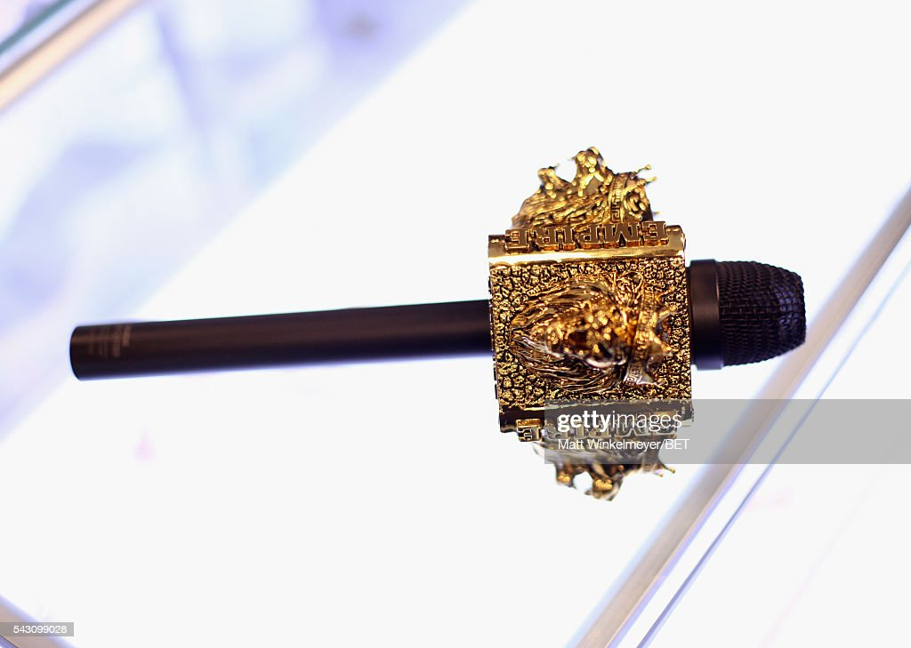 A gold microphone branded for the Fox television show Empire is seen at the 2016 BET Experience on June 25, 2016 in Los Angeles, California.