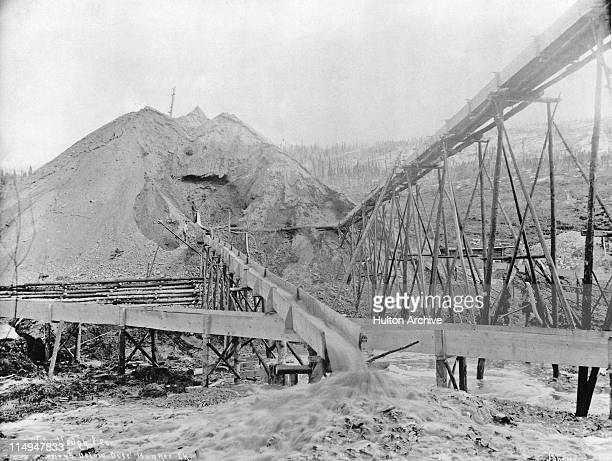 A gold mine at Hunker Creek during the Klondike Gold Rush Yukon Canada circa 1898