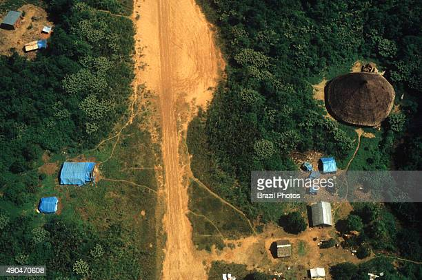 Gold mining illegal landingstrip at Yanomami indigenous people territory in Paapiu area Roraima State Amazon rain forest Brazil Gold miners invasion...