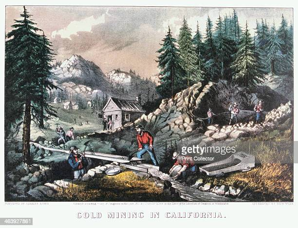 'Gold Mining in California' 1849 Scenes of the 1849 Californian Gold Rush showing cradling panning washing with a 'long tom' and hydraulic mining The...