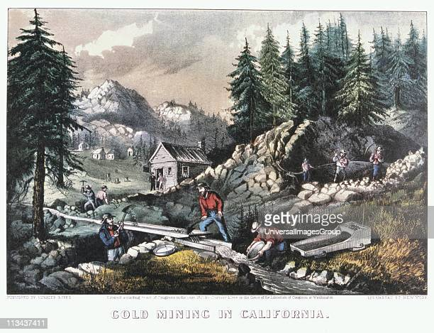 Gold Mining in California Scenes of the 1849 Californian Gold Rush showing cradling panning washing with a 'long tom' and hydraulic mining Coloured...