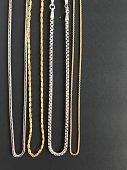 Golden necklace on black background