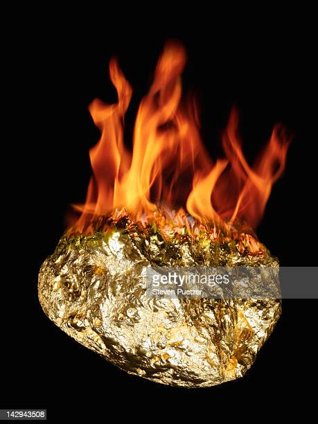 Gold nugget on fire