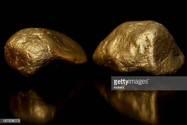 Gold nuggets on black