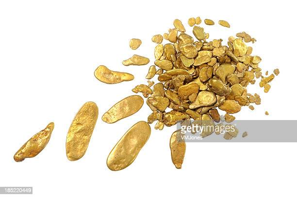 Gold Nuggets on White