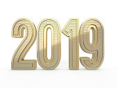 2019 gold numbers text decoration. New year is the first day of the year in the Gregorian calendar. 3D rendering