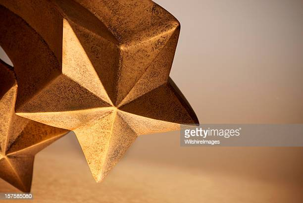 Gold or Bronze Comet Shaped Five Pointed Rising Shooting Stars