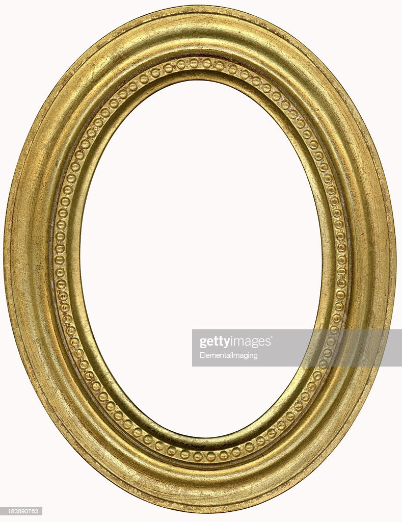 Gold Oval Picture Frame. Isolated on White with Clipping Path