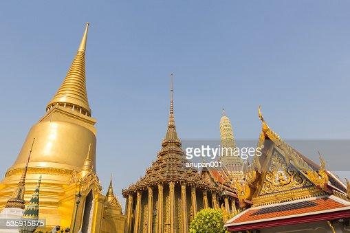 Gold pagoda in Wat Phra Kaew, Thailand : Stock Photo