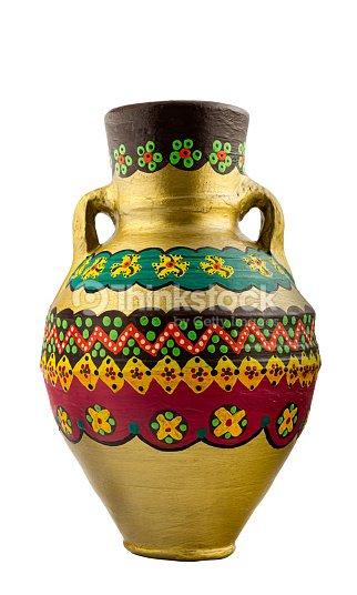 Gold Painted Pottery Egyptian Drinking Vessel Stock Photo Thinkstock