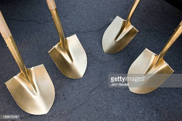 Gold painted shovels awaiting a groundbreaking ceremony announcing the beginning of construction of the Franklin Regional Transit Center, Greenfield, Massachusetts