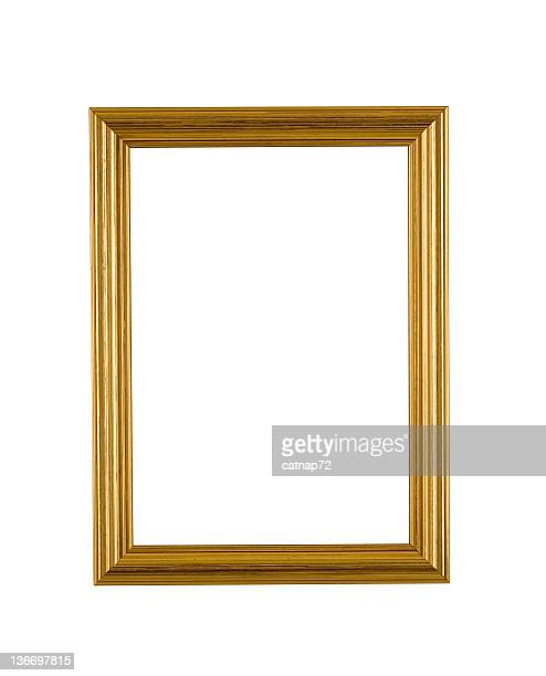Gold Picture Frame in Narrow Modern Style, White Isolated