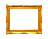 (Clipping path) Gold Picture Frame isolated on white background