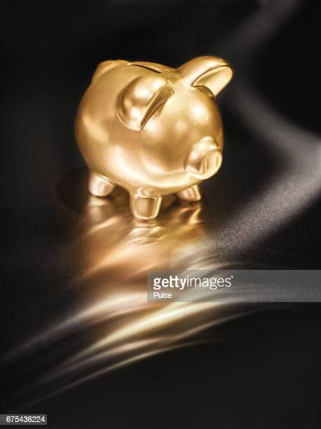 Gold piggy bank on metal background