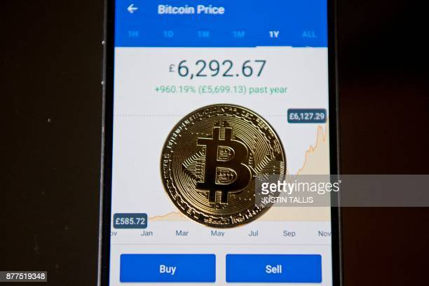 A gold plated souvenir Bitcoin coin is arranged for a photograph on a smart phone displaying current value of a single bitcoin and options to buy or...