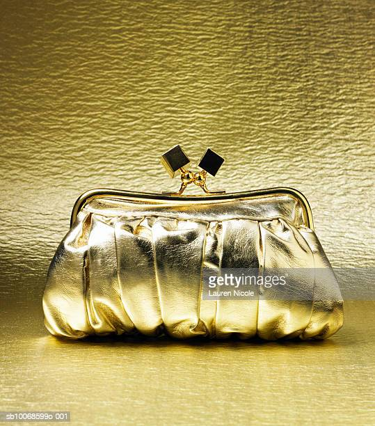 Gold purse on gold background