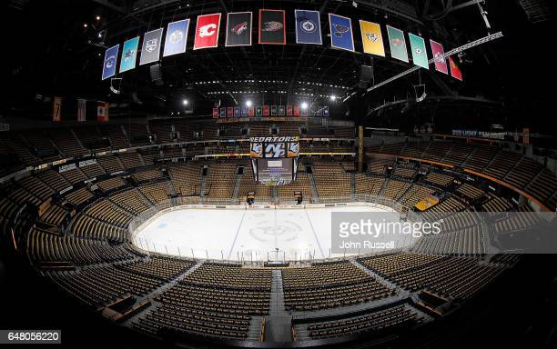 Gold rally towels await fans prior to an NHL game between the Nashville Predators and the Chicago Blackhawks at Bridgestone Arena on March 4 2017 in...