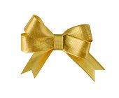 Golden ribbon bow isolated on white clipping path included