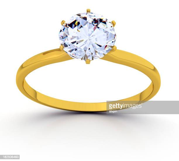 Gold ring with a round diamond solitaire