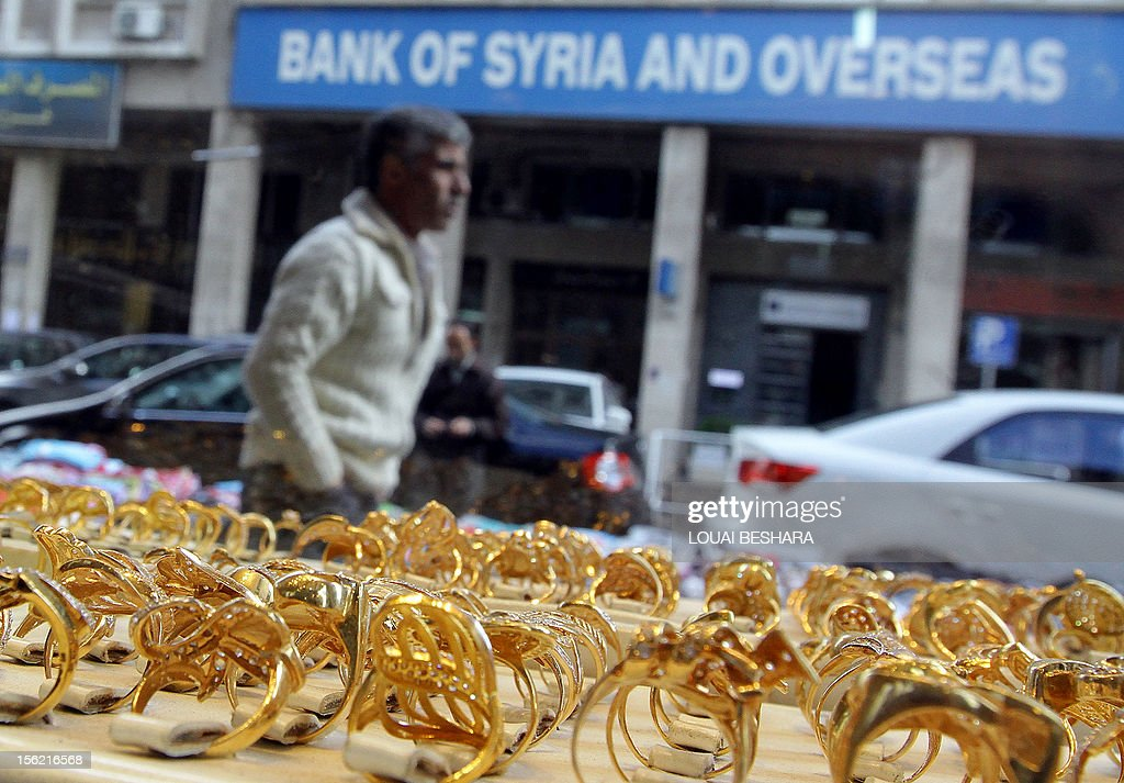 Gold rings are displayed at a jewellery store in the Syrian capital Damascus on November 11, 2012. After nearly 20 long months of conflict, many Syrians are now digging deep into their pockets, with many having to sell their jewellery -- including family heirlooms -- just to survive.