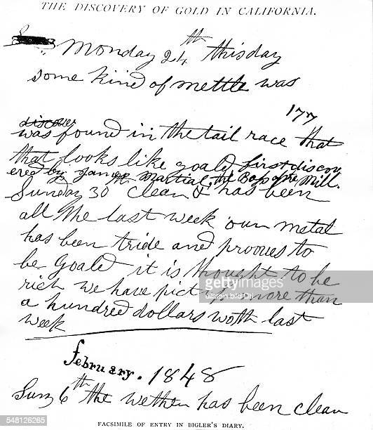 Gold rush California 18481854 Entry in Bigler's diary with first mention of gold find in the american river 24Jan1848