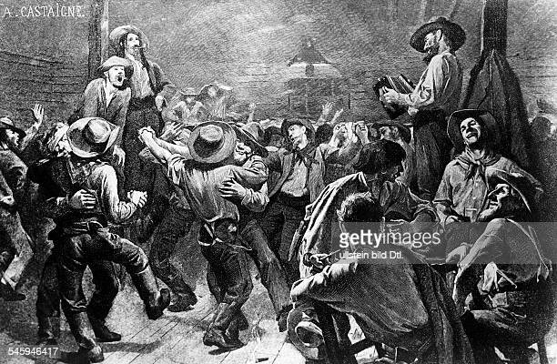 Gold rush California 18481854 Gold diggers on frolic celebration in a saloon about 1850 illustr of A Castaigne 1891