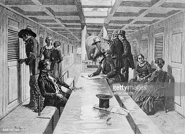 Gold rush California 18481854 Gold prospectors on board of a steam boat on their way to california around 1850 contempwood engraving