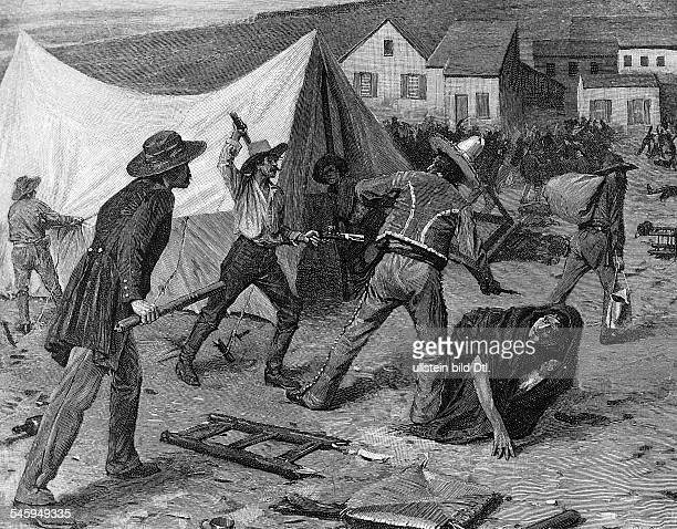 Gold rush California 18481854 Members of a youth gang the 'Hounds`attacking chinese and chilean contract labourers encampments San Francisco 1849wood...