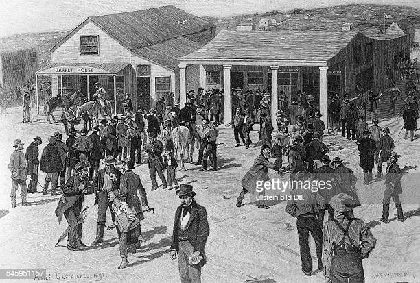 Gold rush California 18481854 San Francisco in its bonanza period Gold diggers queue in front of the post office 1849woodcut of A Gastaigne 1891