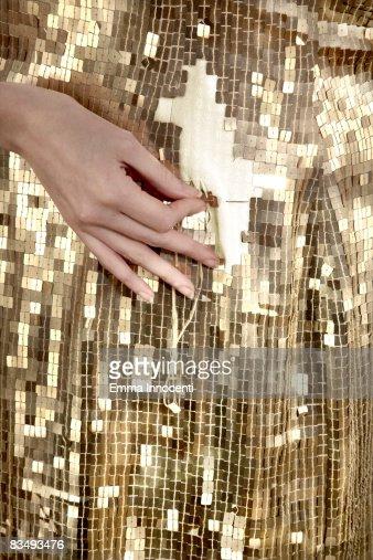 Pailletten-Kleid, geflickte